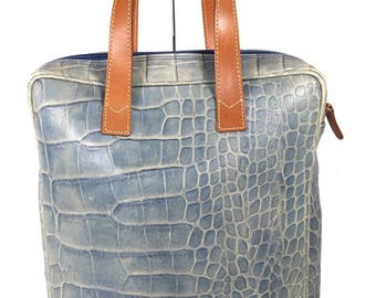 "100% Authentic VINTAGE Versace Blue ""Denim"" Embossed Croc Print Leather Hand Bag"