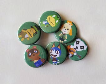 """Animal Crossing New Leaf Button Pins 1.25"""""""