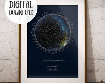 Custom Star Map | 24 hr FAST DIGITAL DOWNLOAD | Real Night Sky | Custom Star Poster | Constellation Map Digital | Personalized Gift