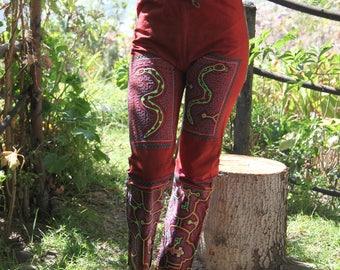 Shipibo Tribal Embroidered Native High Waisted Snakes Mandala Psy Pants