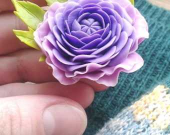 Cold porcelain purple flower brooch, purple and violet jewelry, porcelain ranunculus, clay flower jewelry, bright jewelry