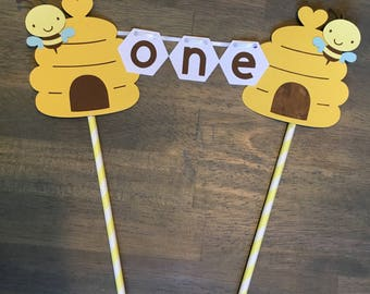 Bumble Bee First Birthday Cake Topper | Bee Cake Topper ONE