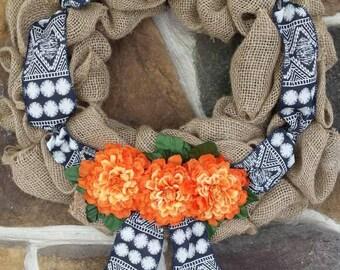 Rustic Bohemian Fall Blue Orange Flower Burlap Wreath