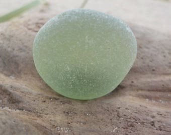 "Genuine Perfectly smoothed flawless Light green Sea Glass piece-Size 0.9""-Jewelry Quality Rare Sea Glass-Pendant size Sea Glass#J104#"