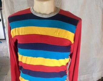Retro Rainbow Stripes Shirt - Long Sleeves, new, retro-futuristic, stranger things, striped shirt, retro shirt