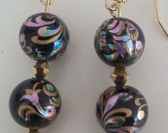 Colorful Japanese Tensha beads and swarovski crystal earrings.