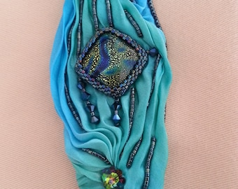 """Shibori silk and Swarovski - Bracelet """"cuff"""" type"""