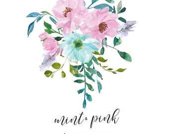 Watercolor Mint Pink Roses Flower Clipart One Arrangement Hand Painted Flowers Wedding Clip Art Commercial Use | A4 Mint & Pink