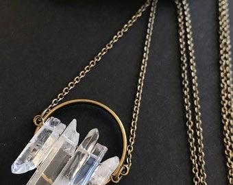 Raw Clear Quartz Pendant Necklace // Long Necklace // Natural Stone Necklace // Crystal Quartz Necklace // Unique Long Necklace // Modern