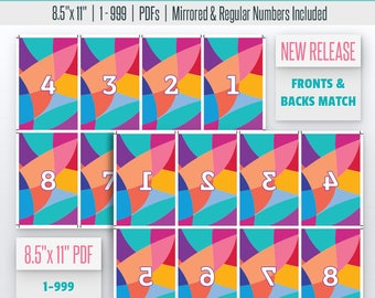 Abstract Live Number Cards(1-999) Normal + Mirrored Numbers Included   Live Sale Numbers, Number Tags, Facebook live numbers