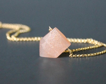 Peach Moonstone Geometric Pendant Necklace, Moonstone and Gold or Silver Necklace, Peachy Pink Necklace, Peach Moonstone Jewelry