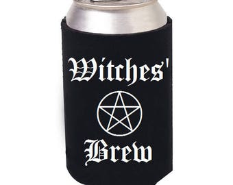 Witches Brew beer cozie, Wiccan, Wiccan can cozie, Wicca, Witch Mug, Witch glass, Wiccan beer can cooler, Witch, Bottle cooler