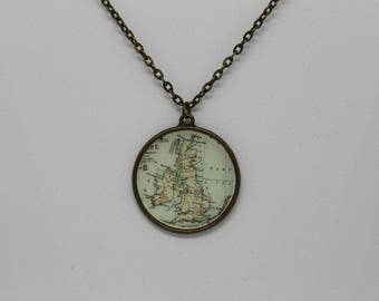 Scotland Ireland England Wales Map Pendant Necklace ; United Kingdom Map ; Bronze Vintage Inspired Pendant Necklace