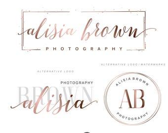 Rose gold design, Branding package, Photography logo package, Premade logo, Branding Kit, Make up artist design, Watermark, Logo package 128
