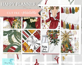 CHRISTMAS HAPPY PlannerPRINTABLE stickers, holiday planner stickers, december happy planner kit, Happy Planner sticker, weekly printable set