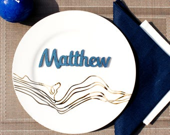 Navy Wedding place cards, Navy blue place names, Laser cut names, Gold Wedding place cards names, Wood place cards,Names cards wedding