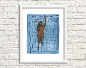 Swimmer Illustration, Art Print