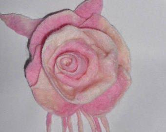 FeltedPink Rose, Felt Flower, Rose Brooch, Light Pink Flower Brooch,
