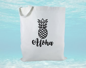 Aloha Pineapple Canvas Tote Bag, Pineapple Bag, Women's Tote, Beach Bag