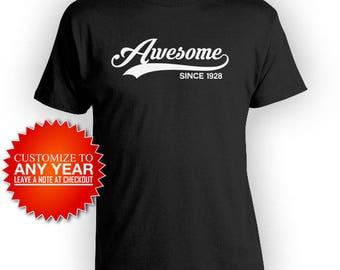 90th Birthday Gift Ideas For Men Custom Birthday Shirt Bday T Shirt Personalized TShirt B Day Awesome Since 1928 Mens Ladies Tee - BG400