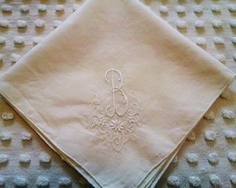 Elegant White Monogrammed Letter Initial B Vintage Hankie Handkerchief Wedding Bride Mother of Bride or Groom Flower Girl Bridesmaid Hanky
