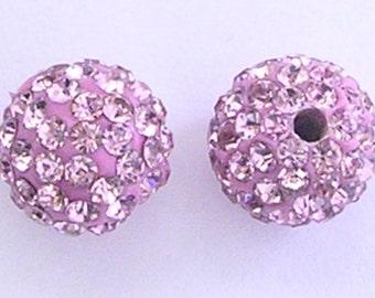 10 Light Rose Quality Pave Rhinestone Disco Balls 8mm 10mm 12mm Shamballa Beads