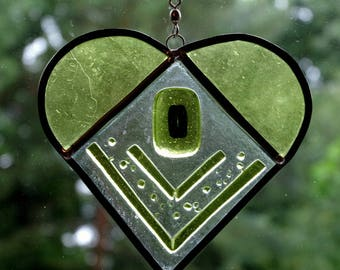 Leaded lime green stained glass heart suncatcher