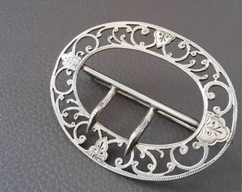 Antique, Sterling Silver, Nurses Buckle, Silver buckle,  Nurses Belt buckle, Solid Silver buckle, Silver belt buckle, Silver, Vintage
