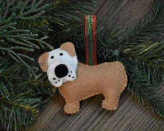 Handmade Felt English Bulldog Ornament