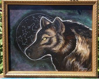 Wolf Astrology -Framed 8x10  -Original on Canvas board  -Tofino  -Westcoast Wolf