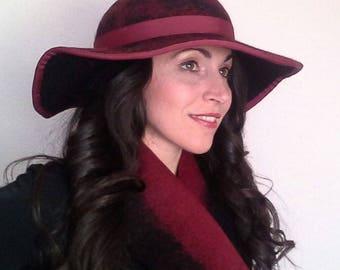 The Vanità Felt Hat, Large Brim Hat, Bordò Black Hat
