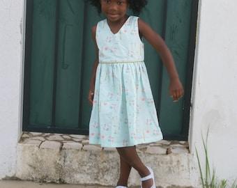 Girls mint and gold dress - girls Easter dress - girls outfit for spring - girls dress for Easter - girls floral dress - mint and gold dress