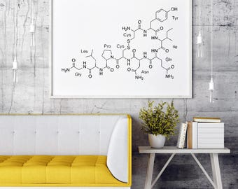 Oxytocin Art | Oxytocin Print | Love Molecule | Oxytocin Molecule | Oxytocin Printable | Chemistry Wall Decor | Chemistry Wall Art