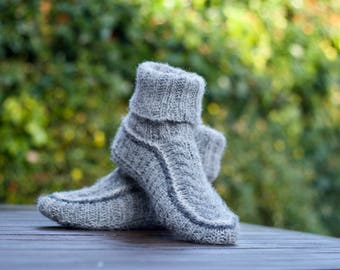 Knitted Slippers socks boots Wool Grey Warm Home slippers Wool socks for women men unisex Pure Shetland wool Knit personalised gift