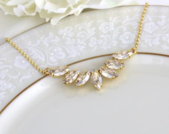 Gold necklace, Bridal necklace, Bridal jewelry, Swarovski crystal necklace, Wedding necklace, Champagne crystal necklace, Wedding jewelry