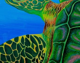 Sea Turtle Art Print, sea turtle acrylic painting, ocean art, sea turtle wall art, nautical art print, beach house art, sea turtle art work