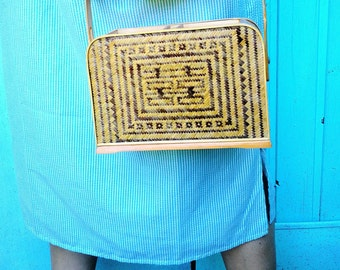 vintage bamboo bag, boho, chinese, suitcase, summer, accessory, hand bag, vintage, beach