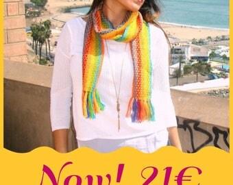 Woven Alpaca wool scarf handmade, winter offer, Peruvian scarf, ethnic, cusco, scarf, handmade crochet scarf