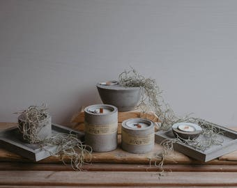 Organic soy wax candles in cement vase, beton, concrete, organic candles, essential oil, handpoured, vegan, essetial oils