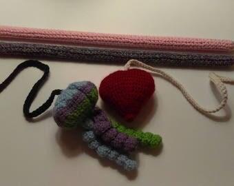 Heart Cat Teaser, Cat Teaser Toy, Cat Wand, Crochet Toy, Pet Toy, Heart, Yarn, Wood, Stuffed Toy,  Blue, Green, Purple, Multicolor