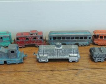 Vintage Midgetoy Train Set, Diecast Metal, 1950's Train Set, Vintage 7 pc. Train set, Pat.#2775847, Made in the U.S.A, Miniature Train Cars