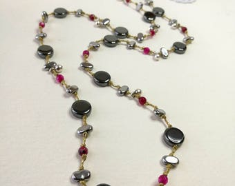 Handmade Rosario Silver Hematite and Dark Gray Hematite with Jade Necklace,waxed cord,Silver button 925o,knot by knot in hand