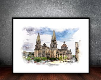 Cathedral of Guadalajara Watercolor,Instant Download,                      ,Mexico,Wall Decor,Printable Art,Canvas Print,Mexico Posters