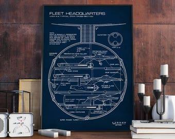 Star Trek Print, Star Fleet Headquarters, Geek Nerd, Trekkie Gift, Starfleet Blueprint Art, Digital Download, Sci Fi Poster Printable