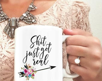 Shit Just Got Real | Just-Engaged Gift | Newly Engaged Mug | Future Mrs. Mug | Engagement Gifts | Engagement Mug | Mug for Bride-to-be