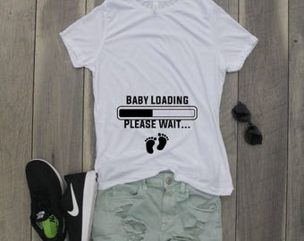 Baby Loading Please Wait Relaxed Jersey T-Shirt, Funny Shirt, Pregnancy Shirt, Pregnancy Announcement, Funny Pregnancy Shirt