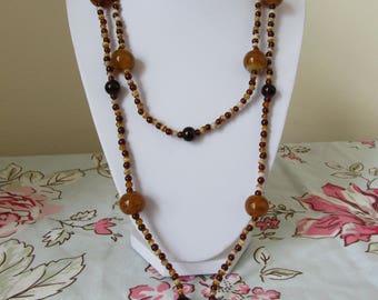 Vintage amber orange brown lampwork glass beaded necklace EXTRA LONG