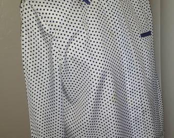 Blue/white polka dot blouse, SIZE 12