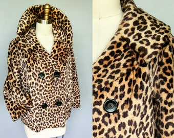 minx / 1950s leopard print faux fur coat / large