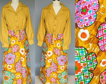 jemma / 1970s hostess dress with quilted floral skirt / 10 12 medium